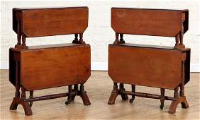 PAIR 19TH C. DOUBLE DROP LEAF TABLES TURNED LEGS