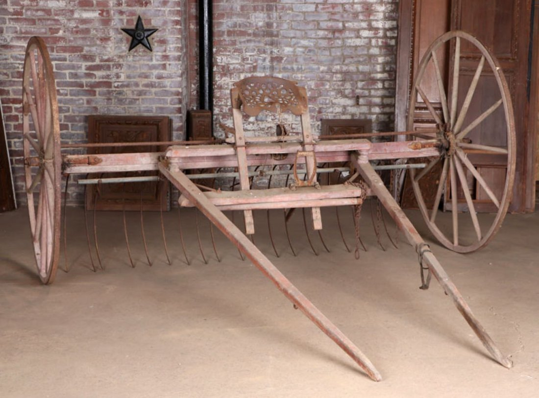 ANTIQUE HORSE DRAWN HAY RACK SPOKED WHEELS