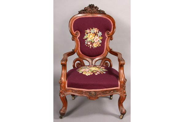 5: ANTIQUE AMERICAN VICTORIAN ROSEWOOD ARM CHAIR