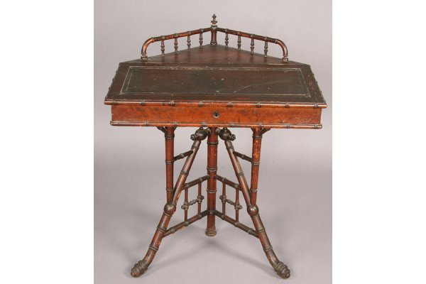 7: ANTIQUE FAUX BAMBOO CORNER DESK CHIPPENDALE STYLE