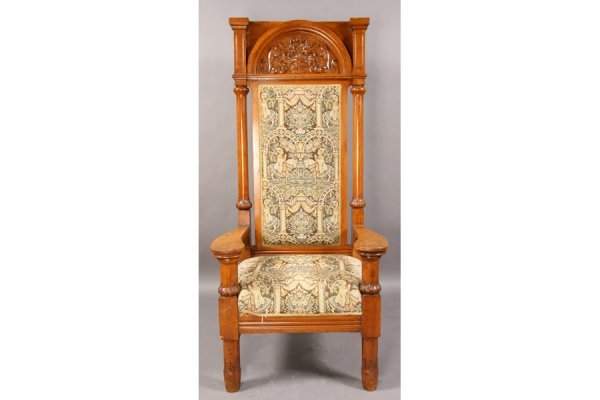 10: ANTIQUE CARVED OAK MASTERS CHAIR UPHOLSTERED SEAT