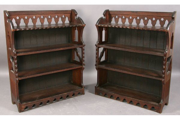 11: ANTIQUE PAIR CARVED OAK GOTHIC OPEN BOOKCASES