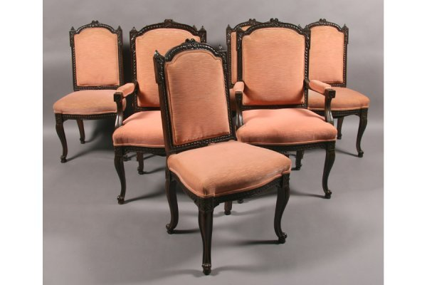 18: SET 10 FRENCH LOUIS XV STYLE ANTIQUE DINING CHAIR