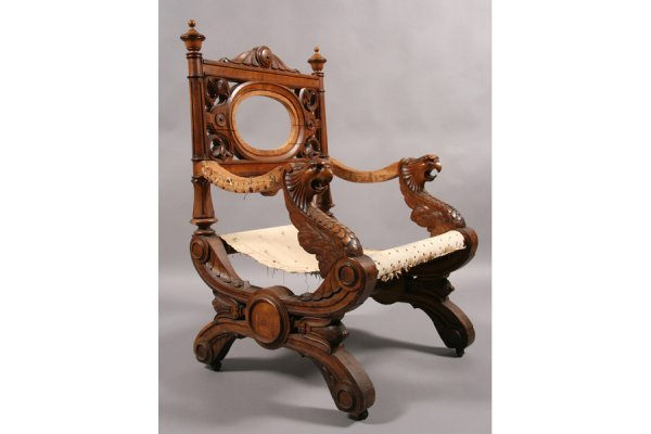 24: ANTIQUE VICTORIAN CAMPAIGN STYLE CARVED CHAIR