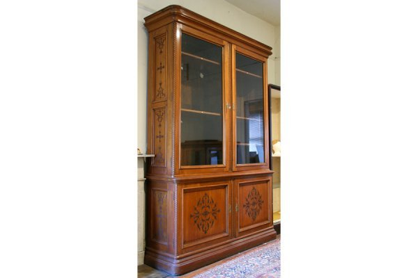 63: PABST VICTORIAN ANTIQUE CARVED WALNUT BOOKCASE
