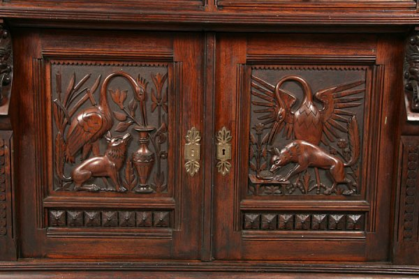 83: PABST ANTIQUE VICTORIAN CARVED SIDEBOARD - 2