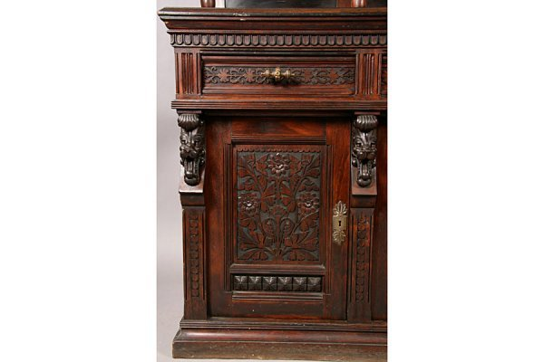 83: PABST ANTIQUE VICTORIAN CARVED SIDEBOARD - 3