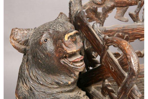 92: ANTIQUE BLACK FOREST CARVED BENCH BEAR FAUX BOIS - 5