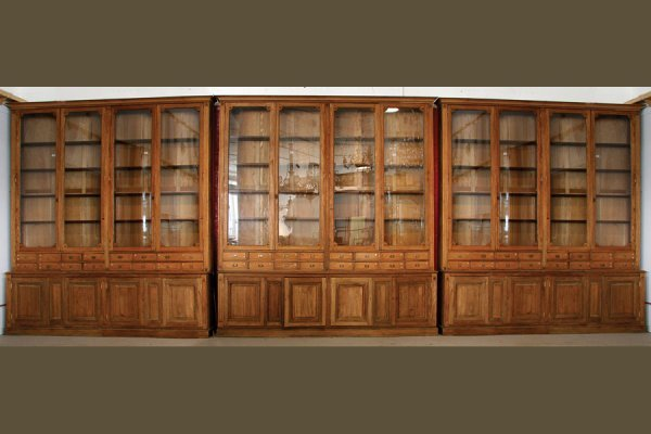 MONUMENTAL LIBRARY ANTIQUE OAK PHARMACY DISPLAY CABINET