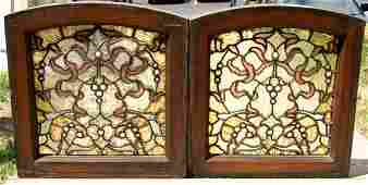 243A: PR SM ANTIQUE VICTORIAN LEADED GLASS WINDOWS