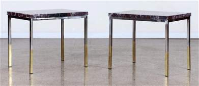 PAIR MID CENTURY MODERN MARBLE TOP END TABLES