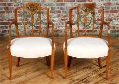 PAIR ENGLISH ADAMS STYLE OPEN ARM CHAIRS C1890