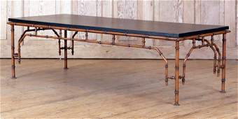 FAUX BAMBOO IRON COFFEE TABLE FAUX STONE TOP