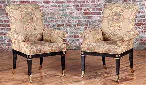 PAIR OF EBONIZED DIRECTOIRE STYLE LIBRARY CHAIRS