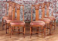 6 ART DECO STYLE CARVED FRUITWOOD DINING CHAIRS