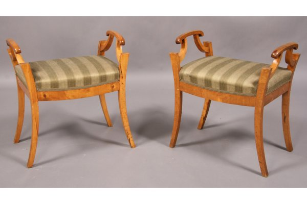 1: PAIR BIEDERMEIER STYLE BENCHES UPHOLSTERED
