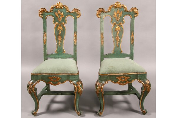 3: PR CONTINENTAL CARVED GILT PAINTED SIDE CHAIRS