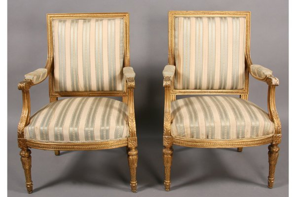 5: PAIR CARVED GILT WOOD ARM CHAIRS LOUIS XVI SYTLE