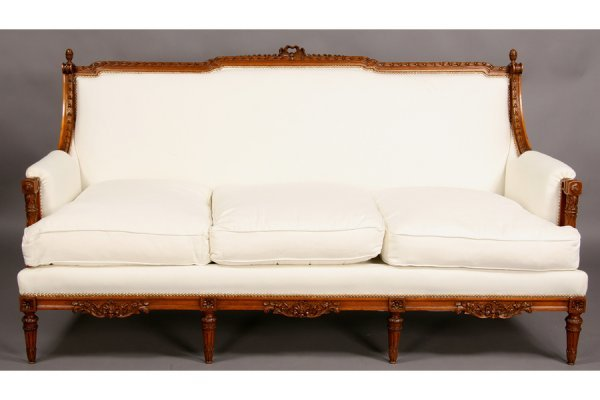 6: French Louis XVI carved walnut couch sofa