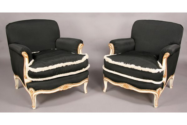 7: Pair French Louis XV style club chairs