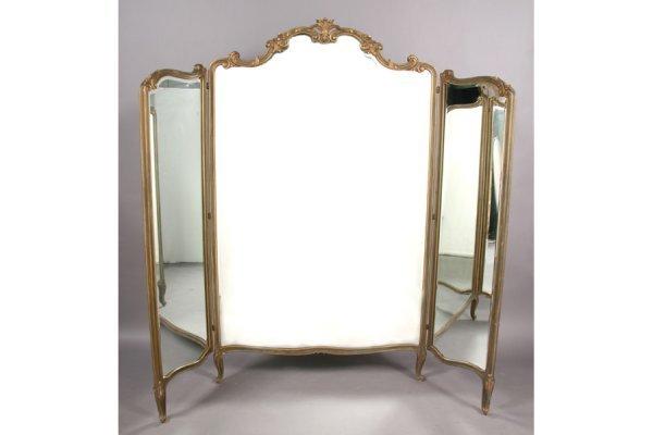 9: French Louis XV 3 fold dressing mirror beveled