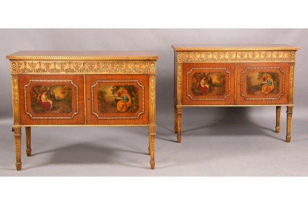 10: Pair Edwardian satinwood painted commodes