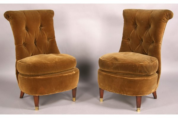 11: French slipper chairs rolled back upholstered