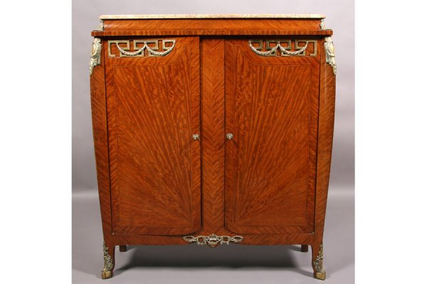 15: ANTIQUE FRENCH LOUIS XV CABINET MARBLE BRONZE