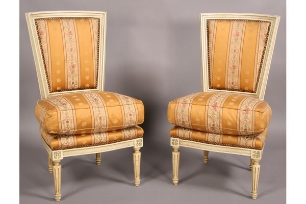 19: PAIR FRENCH LOUIS XVI STYLE PAINTED SIDE CHAIRS