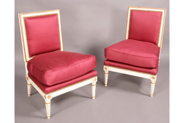 20: PAIR PETITE LOUIS XVI STYLE SIDE CHAIRS PAINTED