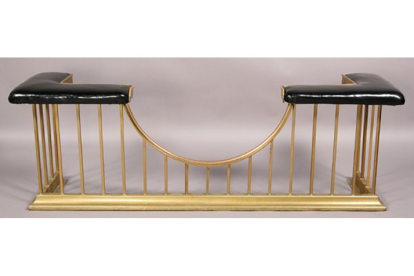 Vintage brass fireplace fender bench upholstered 178 vintage brass fireplace fender bench upholstered geotapseo Images