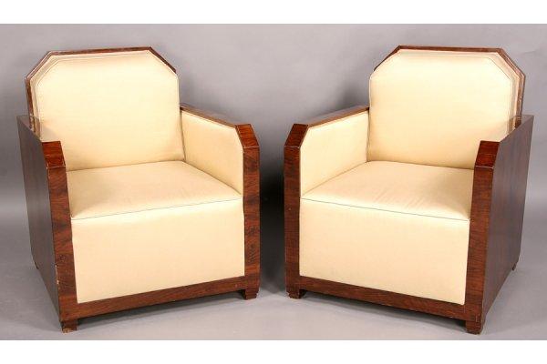 476: Pair walnut Art Deco club chairs Dominque Studio
