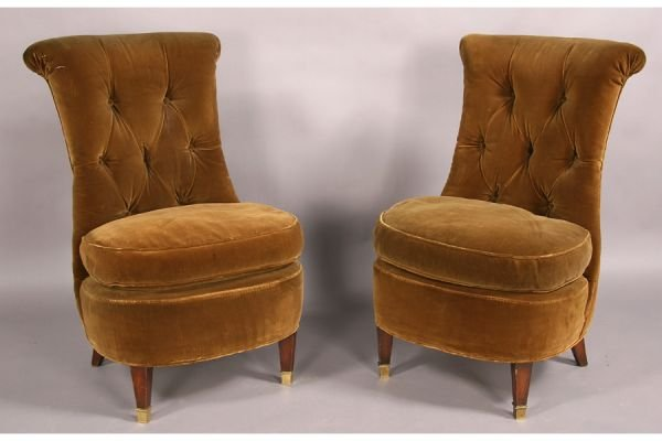 11A: French slipper chairs rolled back upholstered