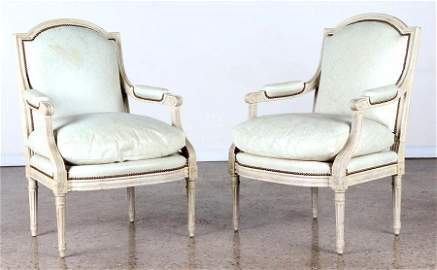 PAIR LOUIS XVI STYLE OPEN ARM CHAIRS LEATHER