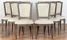 SET 6 FRENCH UPHOLSTERED DINING CHAIRS LOUIS XVI