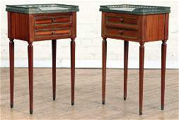 PAIR FRENCH MAHOGANY MARBLE TOP NIGHT STANDS 1950