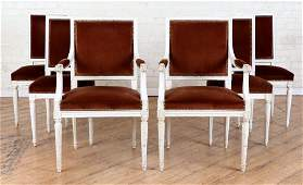 SET 6 FRENCH UPHOLSTERED DINING CHAIRS C.1920