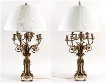 PAIR FRENCH BRONZE CANDELABRA LAMPS MARBLE BASES