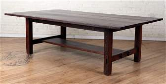 LABELED STICKLEY ARTS & CRAFTS OAK LIBRARY TABLE