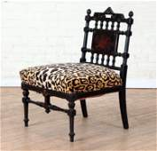 CARVED INLAID EBONIZED VICTORIAN SIDE CHAIR 1880