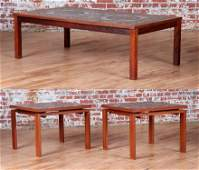 DANISH ROSEWOOD COFFEE TABLE AND PAIR END TABLES