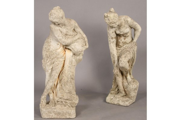 3: TWO CAST STONE CLASSICAL FEMALE GARDEN FIGURES