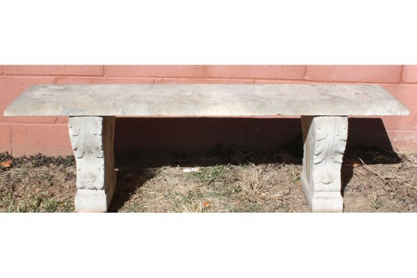 12: 2 PC LOT: TWO ANTIQUE CARVED MARBLE GARDEN BENCH