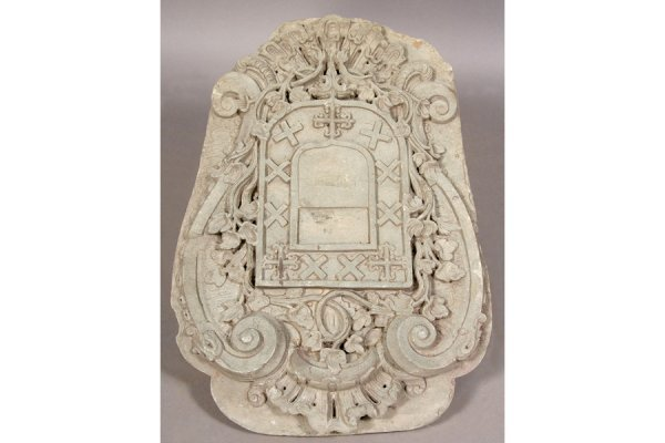15: ANTIQUE CARVED STONE COAT OF ARMS CENTRAL SHIELD