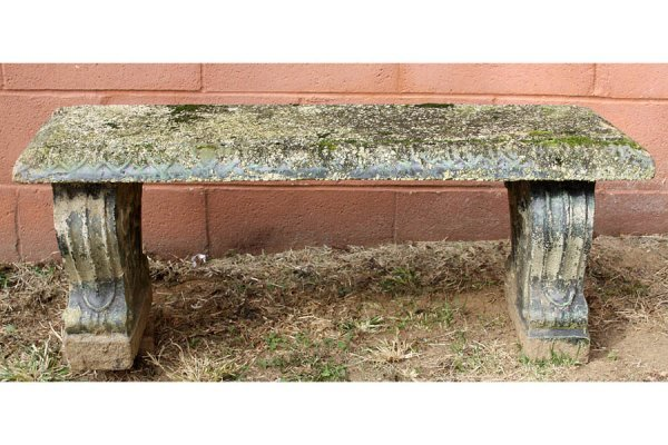 16: CAST STONE GARDEN BENCH WITH MOLDED TOP EDGE