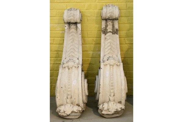 18: Pair cast stone decorated corbels