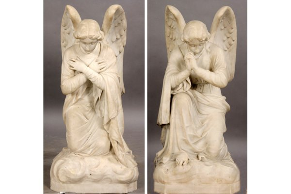 19: PAIR ANTIQUE CARVED MARBLE ANGELS GARDEN