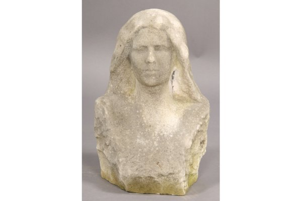 132: ANTIQUE FRENCH CARVED STONE BUST WOMAN WEATHERED