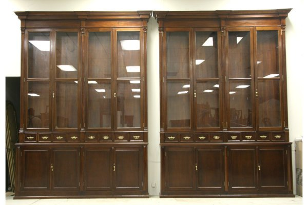 595: PR LG ANTIQUE BOOKCASES PHARMACY CABINETS