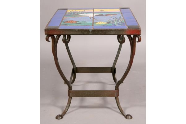 359A: Catalina style tile top table Heron Iron